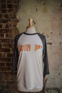 Orange & White Patchwork TN Baseball Tee 2258