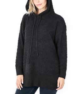 Black Popcorn Hooded Pullover 2951