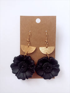 Black Poppy Clay Earrings