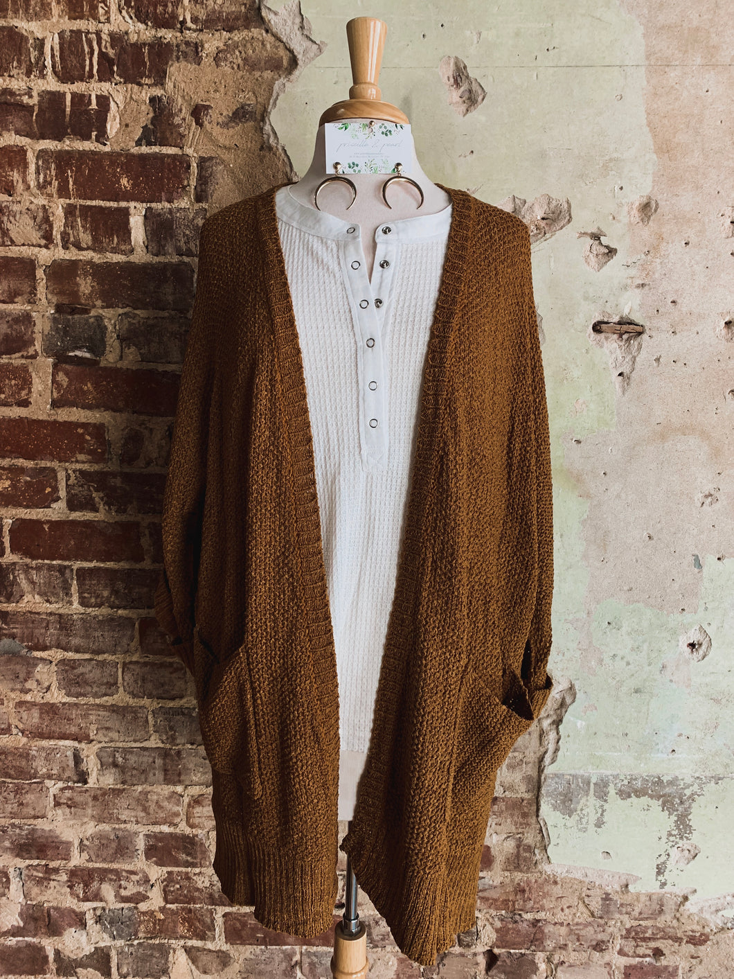 Caramel Half Sleeve Pocket Cardigan 2225