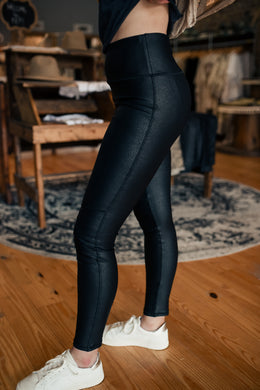 Black Faux Leather Moto Leggings 2535