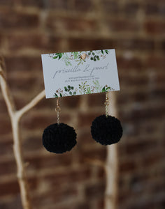 Black Pom Pom Earrings