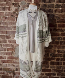Cream Cardigan with Sage Stripes 2097