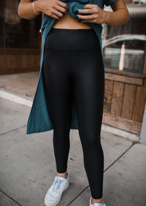 Black Faux Leather Leggings 2710