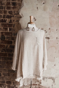 Oatmeal Linen Top With Fringe Hemline 2193