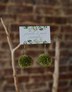 Lime Pom Pom Earrings