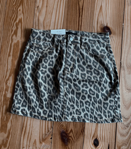 Faded Leopard Denim Skirt 2366
