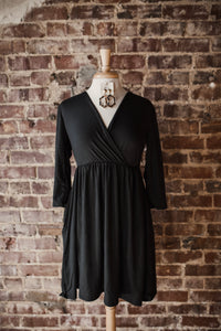 Black 3/4 Sleeve Dress 2381