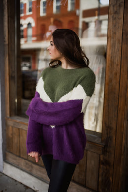 Plum/Olive Color Block Sweater 2870