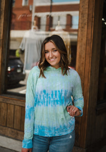 Blue/Green Tie Dye Hooded Top 2696