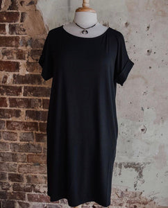 Black Boyfriend Tee Dress 2159