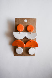 Orange & White Geometric Clay Earrings