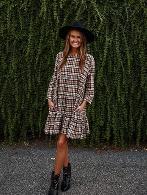 Taupe Plaid Long Sleeve Ruffle Dress 2884