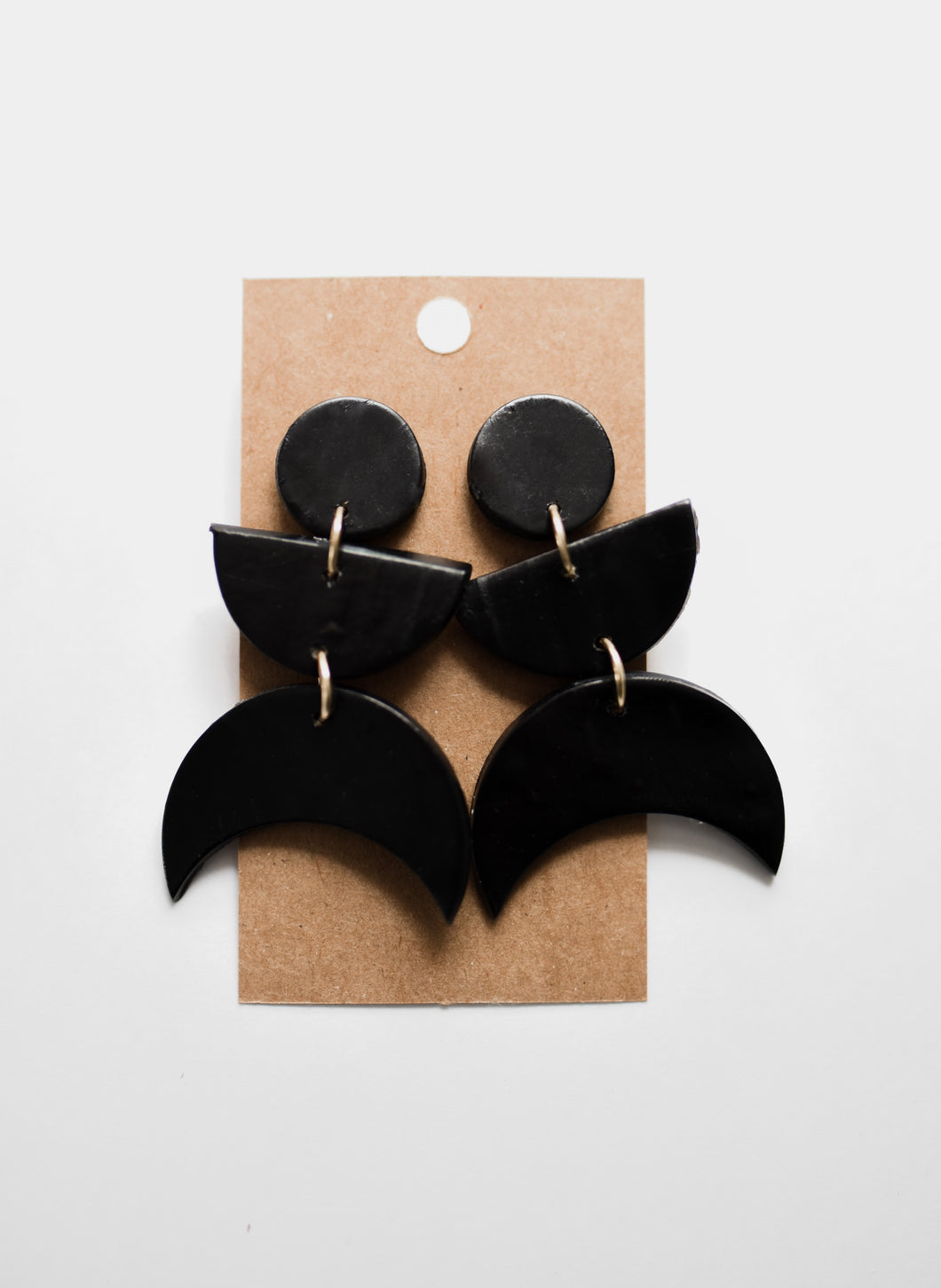 Black Crescent Clay Earrings
