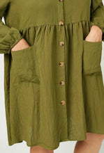 Olive Button Down Pocket Tunic 2857