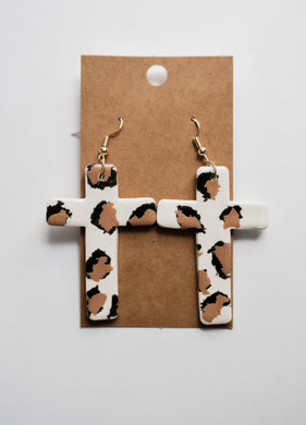 Leopard Cross Clay Earrings