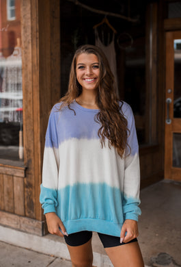 Sunset Walks Tie Dye Pullover in Purple/Blue 2672