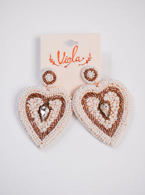 Ivory Beaded Heart Earrings