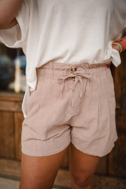 Mauve High Waisted Linen Shorts 2642