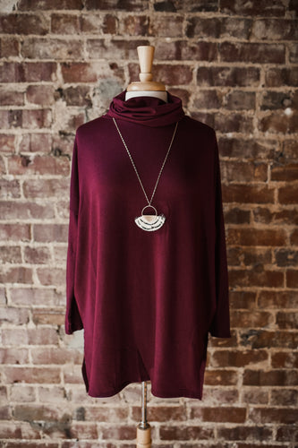 Burgundy Cowl Neck Top 2394
