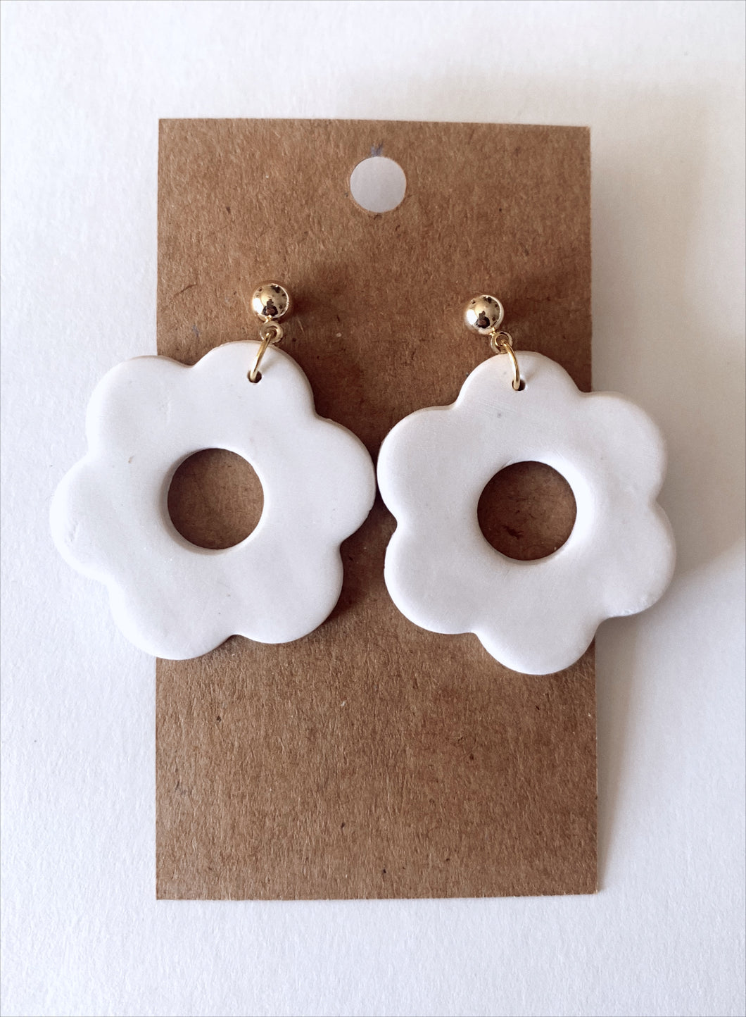 Ivory Floral Clay Earrings