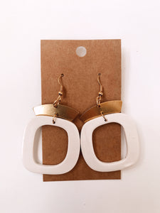 Abstract Square Clay Earrings in Ivory Pearl