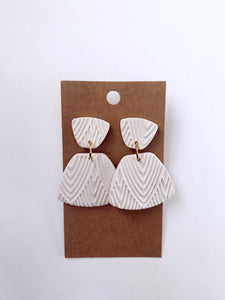 Pearl White Textured Clay Earrings