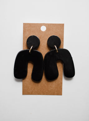 The Nova Clay Earrings in Black