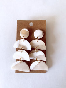 Translucent +Ivory Clay Earrings