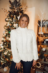 Ivory Scalloped Ruffle Hemline Sweater 2922