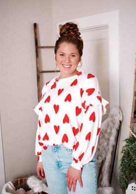 White + Red Heart Top 2982