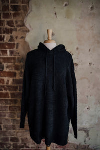 Black Hooded Popcorn Texture Pullover 2290
