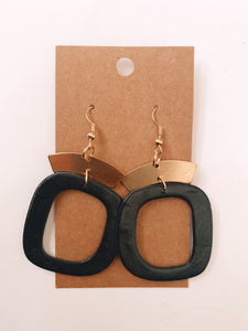 Abstract Square Clay Earrings in Black