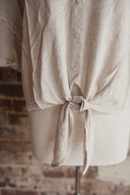 Cream Linen Button Up Knot Top 2188