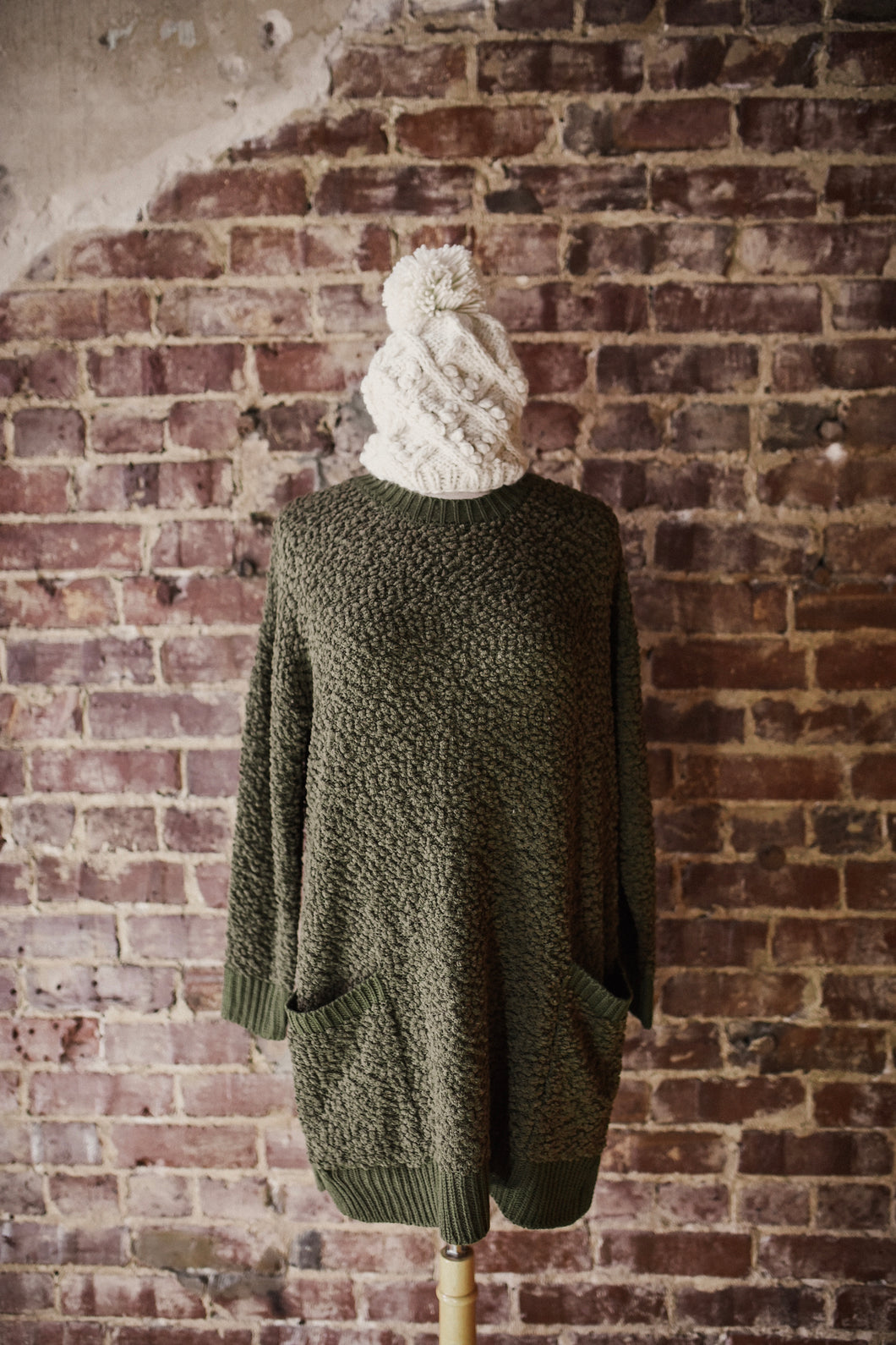 Olive Popcorn Sweater with Pockets 2400