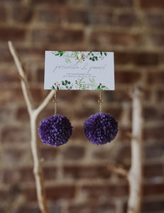 Violet Pom Pom Earrings
