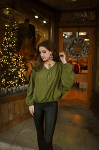 Olive Tasseled V-Neck Top 2893