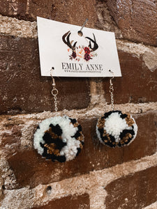 Cream Leopard Pom Pom Earrings