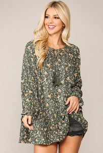 Olive Floral Long Sleeve Top 2875