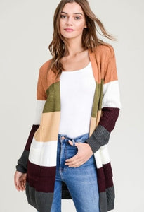 Color Block Striped Cardigan 2921