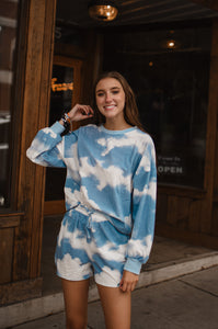 Head in the Clouds Tie Dye Lounge Set in Blue 2739