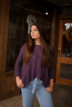 Plum Rolled Sleeve Sweater  2834