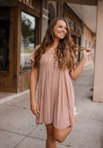 Mauve Button Down Dress 2684