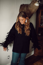 Black Fringe Sleeve Sweater 2919