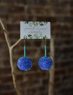 Periwinkle Pom Pom Earrings with Turquoise Beading