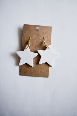 White Star Clay Earrings
