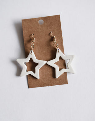 Star Cutout Clay Earrings in White