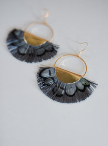 Charcoal Feather Earrings