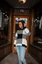 Ivory/Black Color Block Chenille Sweater 2441