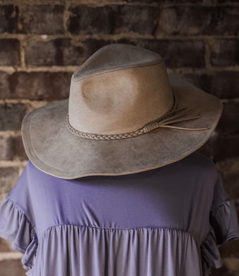 Cream Suede Wide Brim Hat 2457